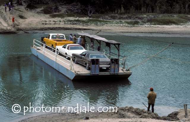 Hand-powered ferry between Los Ebanos, Texas and Ciudad Gustavo Diaz Ordaz, Tamaupilas