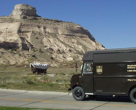 Old and new transport at Scottsbluff Natl. Mon.