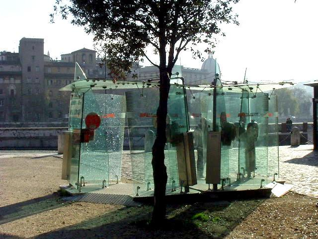 Phone booths near the Tevere