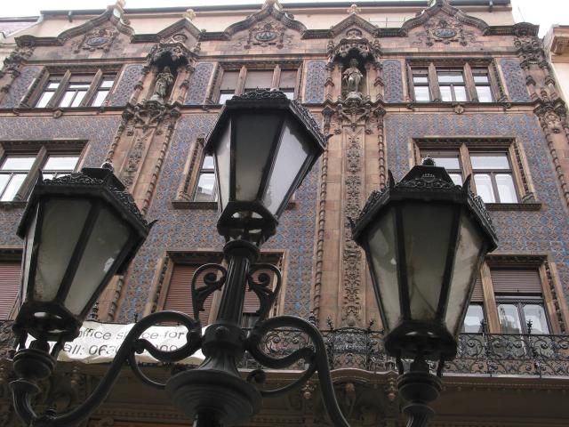 Street lamps and building