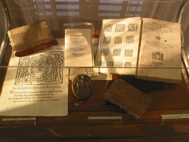 Old books in Bardejov town hall museum