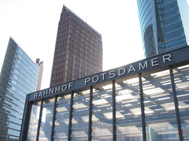 Berlin Potsdamer Platz: Bahnhof entrance and buildings around
