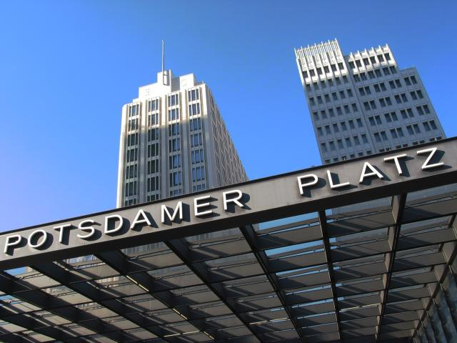 Berlin Potsdamer Platz: Bahnhof entrance with buildings above