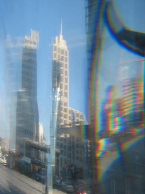 Berlin Potsdamer Platz: Reflections in side of underground viewing tube