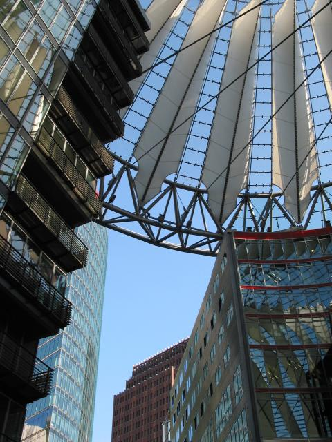 Berlin Potsdamer Platz: Looking up from Sony Center
