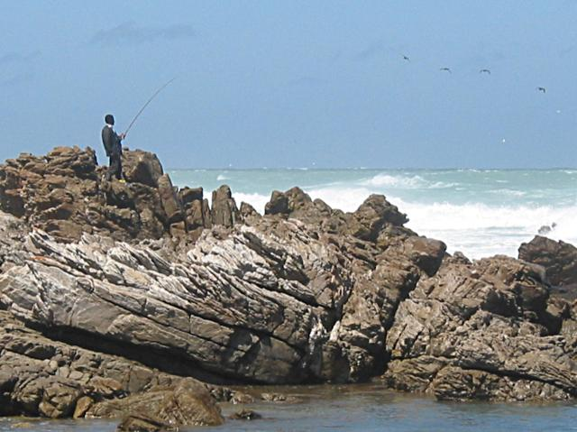Fishing at end of Cape Agulhas
