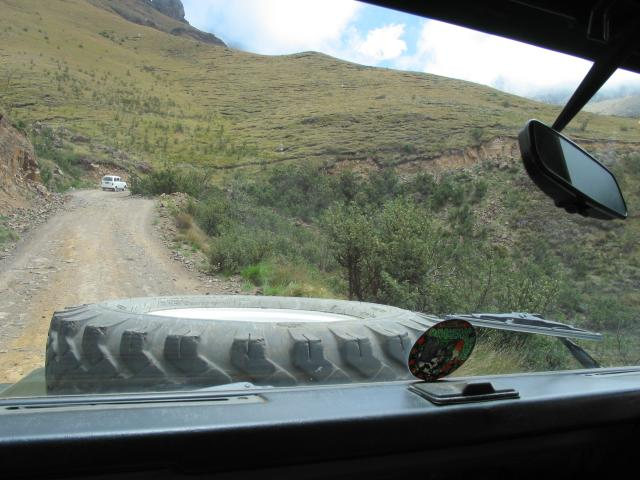 Getting near the top (from Land Rover passenger seat)