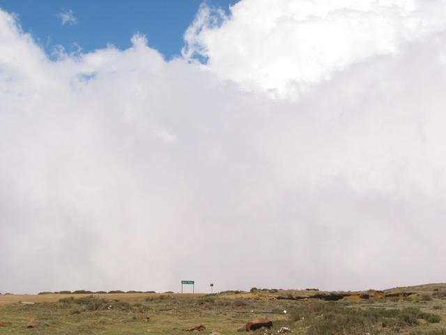 Looking the other way, down Sani Pass, and a wall of clouds