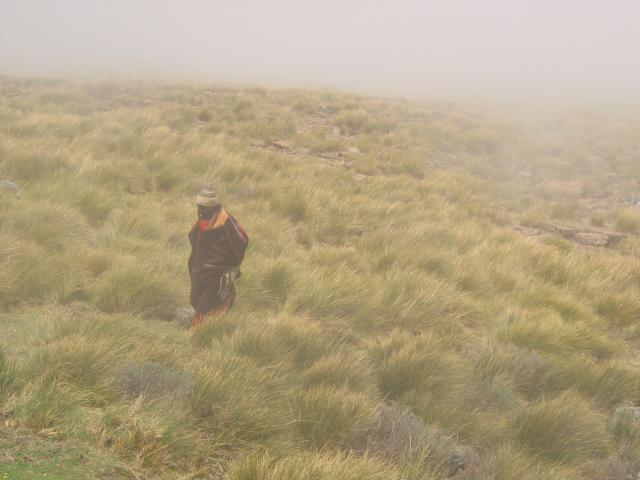 Walking away from Sani Pass in the fog