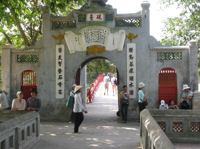 Visitors around inner gate at Ngoc Son temple