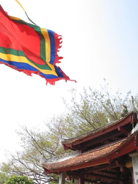 Flag and building at Ngoc Son temple