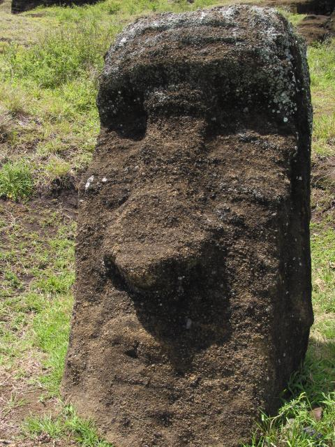 Close-up of moai face
