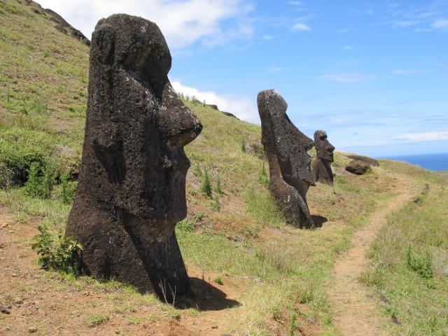 Moai along path