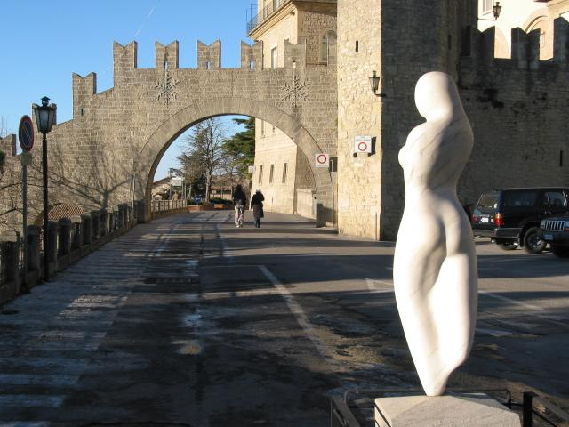 Sculpture and gate