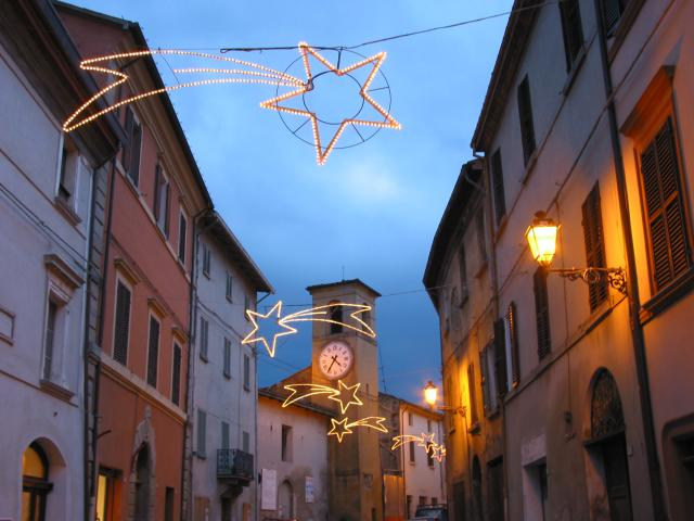 Christmas stars above the street