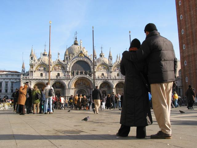 A couple at Piazza San Marco (St. Mark's Square)