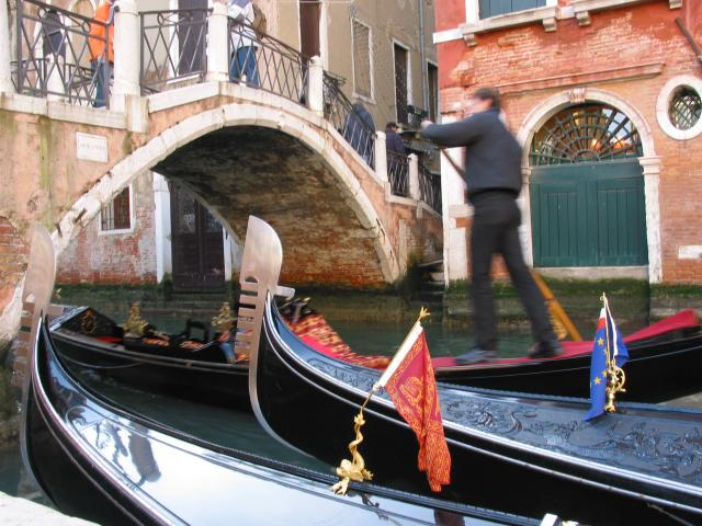 Gondolier, gondolas, bridge
