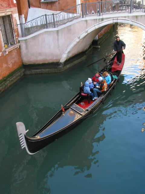 Gondola, passengers, bridge