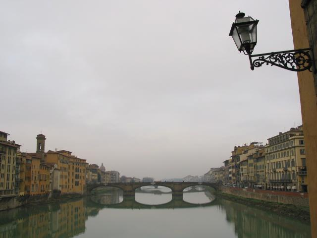 Arno River on a cloudy day (from Ponte Vecchio?), with lamp in foreground, Firenze