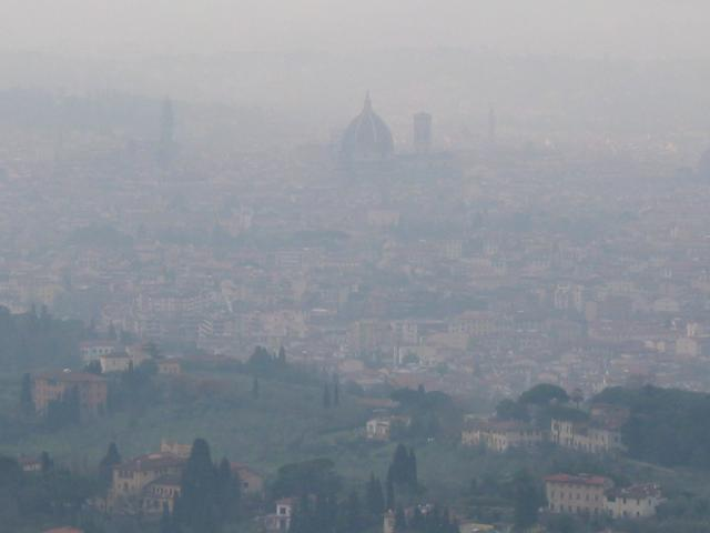 Misty view of Florence from Fiesole