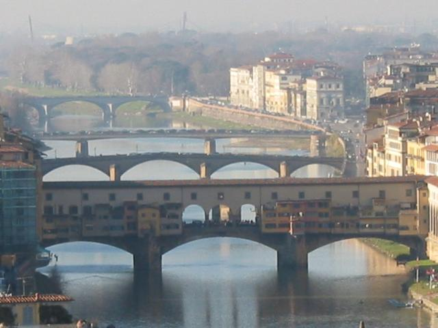 Arno River bridges from Piazza Michaelangelo