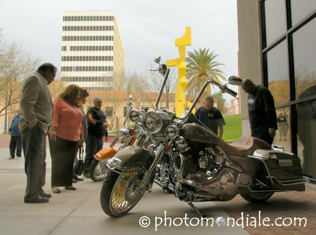 Harley-Davidson motorcycles outside Tucson Museum of Art