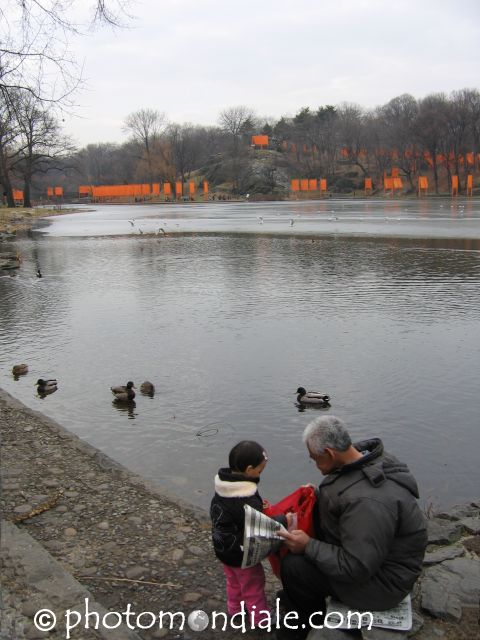 Man and Child Along Harlem Meer