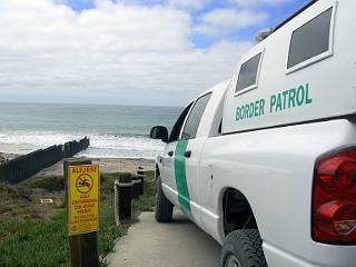 U.S. Border Patrol agent watches the beach and the ocean